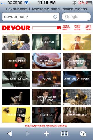Devour.com screenshot in Mobile Safari