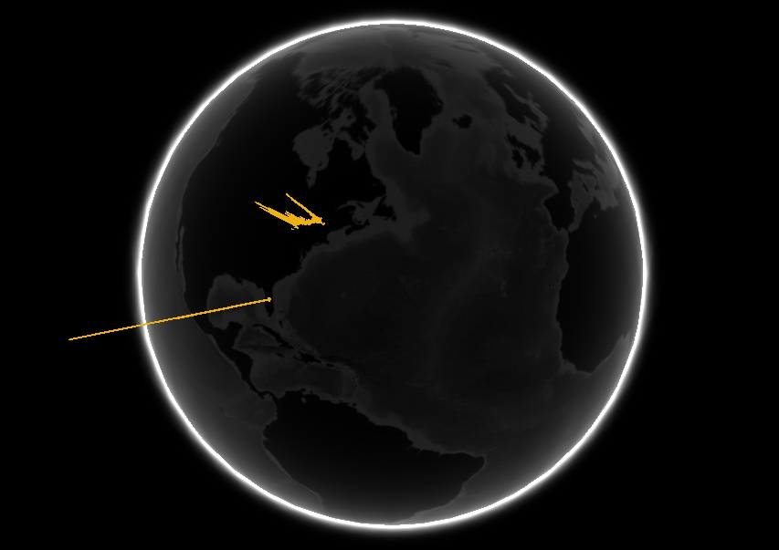 Visual of the iPhone tracking data on a globe.