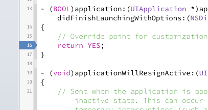 A breakpoint in Xcode