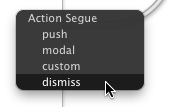 Dismiss in Segue Types