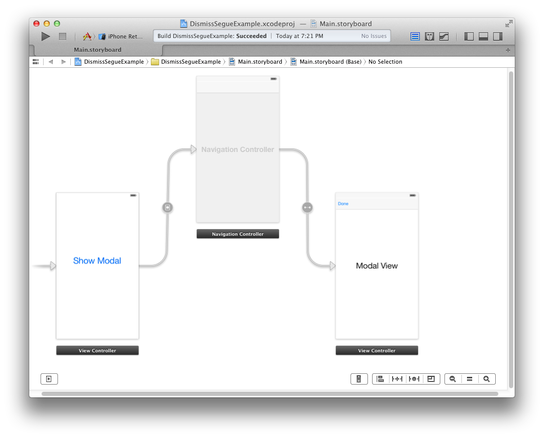 Modal View with Navigation Controller and Done Button